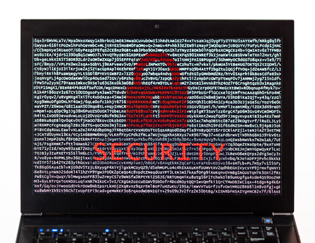 Security text with red lock over encrypted text on a laptop screen against a white background - cyber crime