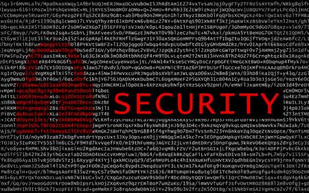 암호화 된 텍스트에 빨간 자물쇠가있는 보안 텍스트 - 사이버 범죄