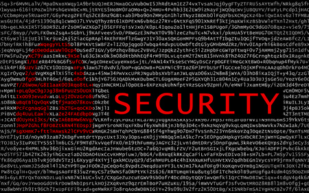 Security text with red lock over encrypted text - cyber crime
