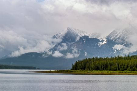 Lower Kananaskis Lake on a stormy day