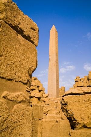 Stone obelisk inside the Karnak Temple, Egypt Stock Photo