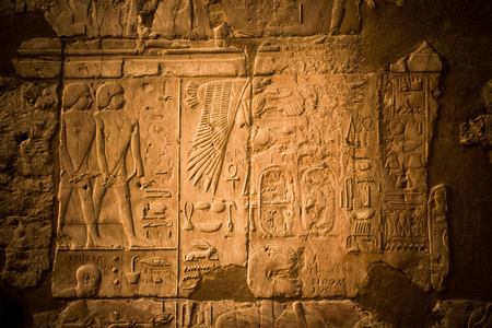 Hieroglyphs in the ancient Luxor Temple, Egypt