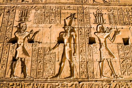 Hieroglyphs in the Temple of Horus, Edfu, Egypt Banque d'images - 95912622