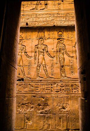 Hieroglyphs in the Temple of Horus, Edfu, Egypt