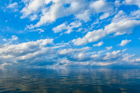 Background of sky and clouds reflected in water or ocean