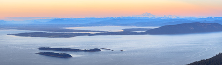 Aerial view from the San Juan Islands with Mount Baker on the horizon, Washington, USA Stok Fotoğraf