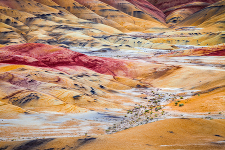Detail image of the colorful clay hills in the Painted Hills of Oregon, USA