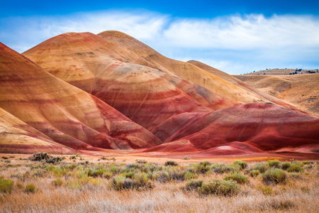 Colorful clay hills in the Painted Hills of Oregon, USA