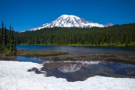 Mirror Lake and Mount Rainier, Washington, USA