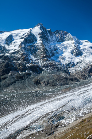 Grossglockner, the highest mountain in Austria along with the Pasterze glacier, Europe