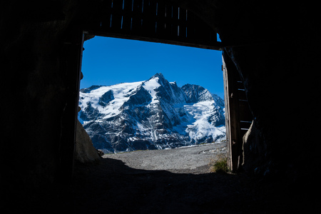Grossglockner, the highest mountain in Austria as seen from a tunnel, Europe