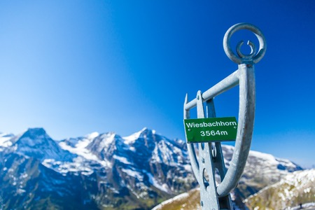 Information sign and views of the Alps along the Grossglockner High Alpine Road in Austria, Europe Reklamní fotografie