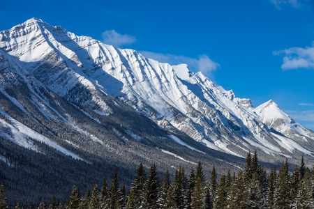 Snow covered mountains in Kananaskis, Alberta, Canada