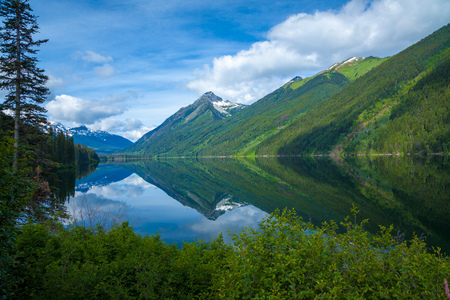 A mountain lake in a beautiful summer day in British Columbia, Canada Stock Photo