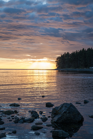 Sunset over the Pacific Ocean from Vancouver Island, British Columbia, Canada