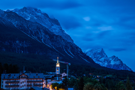 Evening ove the town of Cortina dAmpezzo, Dolomites, Italy