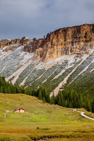 A path or hiking trail in Dolomite Mountains of Northern Italy, Europe