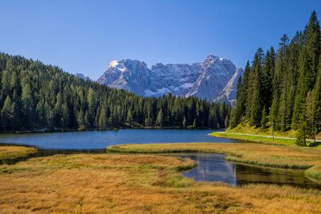 Beautiful Lago di Misurina in the Dolomites in Northern Italy, Europe