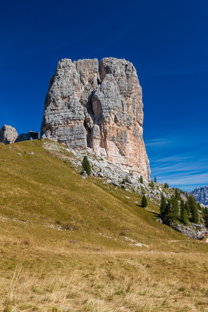 Hiking around the Cinque Torri in the Dolomites of Northern Italy, Europe Stock Photo - 117182349