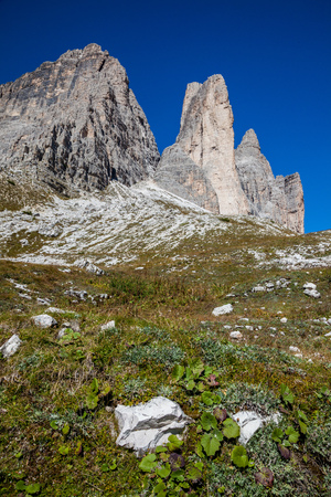 Hiking around the Tre Cime di Lavaredo in the Dolomites of Northern Italy, Europe Stock Photo