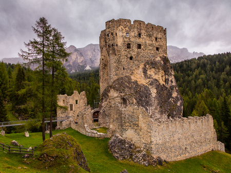 An old ruined castle in the Dolomites in Northern Italy, Europe
