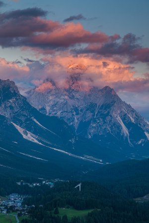 Colorful sunset over the town of Cortina dAmpezzo, Dolomites, Italy