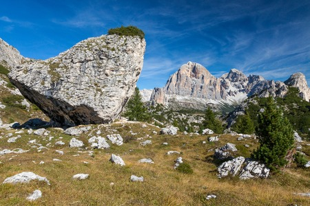 Hiking around the Cinque Torri in the Dolomites of Northern Italy, Europe Stock Photo - 117182080