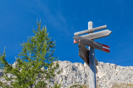 Hiking around the Cinque Torri in the Dolomites of Northern Italy, Europe Stock Photo