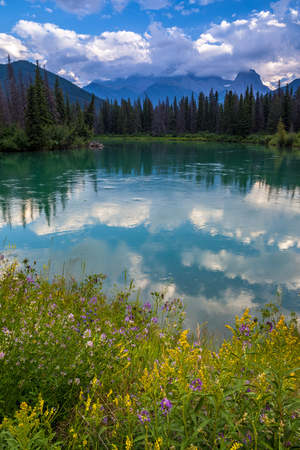 Mount Lougheed and the Bow River in the Canadian Rocky Mountains near Canmore, Alberta, Canada