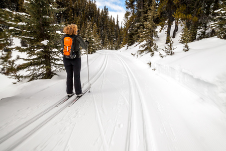 A young woman cross country skiing in Peter Lougheed Provincial Park, Alberta, Canada