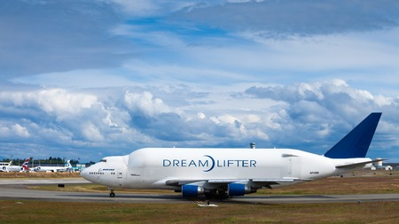 EVERETT, WASHINGTON, USA - JULY 3, 2014: The Boeing 747 Dreamlifter, built to carry parts for the Boeing 787 Dreamliner on the Runway