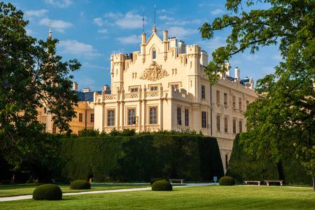 LEDNICE, CZECH REPUBLIC - SEPTEMBER 5, 2012: The beautiful Lednice Chateau in southern Moravia in the Czech Republic, Europe Redakční
