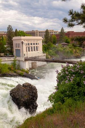 SPOKANE, WASHINGTON, USA - MAY 16, 2018: The Washington Water Power Upper Falls Power Plant in downtown Spokane, Washington