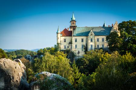 HRUBA SKALA, CZECH REPUBLIC - SEPTEMBER 18, 2012: View of Hruba Skala Castle on a clear beautiful day