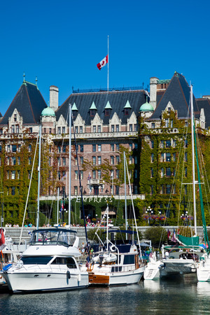 VICTORIA, BRITISH COLUMBIA, CANADA - AUGUST 25, 2011: The harbour in the city of Victoria, BC