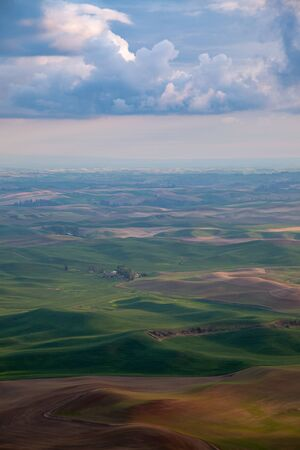 Aerial view of the farmland in the Palouse region of Eastern Washington state, USA Banco de Imagens