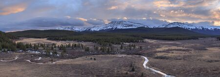 Sunset over the canadian Rocky Mountains in Alberta, Canada Banco de Imagens