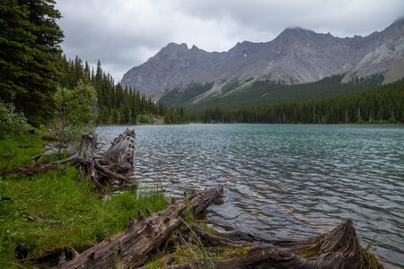 Elbow Lake, a popular hiking destination in Kananaskis on a stormy summer day