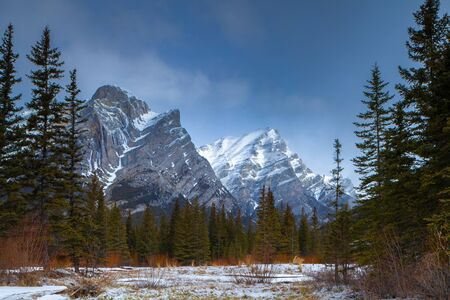 A beautiful winter day in the mountains of Kananaskis in Peter Lougheed Provincial Park, Alberta, Canada Stock Photo