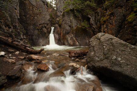 Cat Creek waterfall in Kananaskis Country, Alberta, Canada Banco de Imagens - 130439740