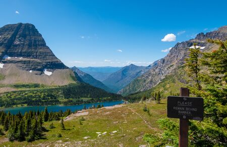 Hidden lake overlook along the Hidden Pass Trail in Logan Pass area of Glacier National Park, Montana, USA Stock Photo