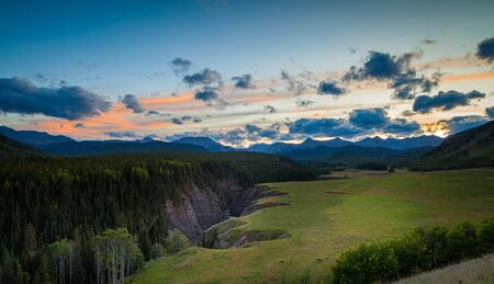The sheep river in Kananaskis in the Canadian Rocky Mountains west of Calgary, Alberta, Canada at sunset