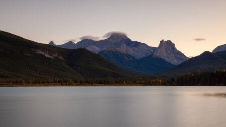 Mount Lougheed and Gap Lake in the Canadian Rocky Mountains, Alberta, Canada at dusk