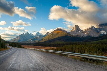 A road in Kananaskis in the Canadian Rocky Mountains, near Canmore, Alberta, Canada Stock Photo