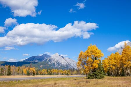 A highway through the Canadian Rocky Mountains in Kananaskis, Alberta, Canada, during the peak of autumn colors