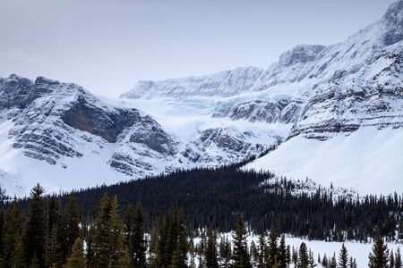 The crowfoot glacier in winter along the Icefields Parkway in Banff National Park, Alberta, Canada