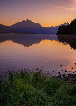 Lake Macdonald in Glacier National Park, Montana, USA at sunrise
