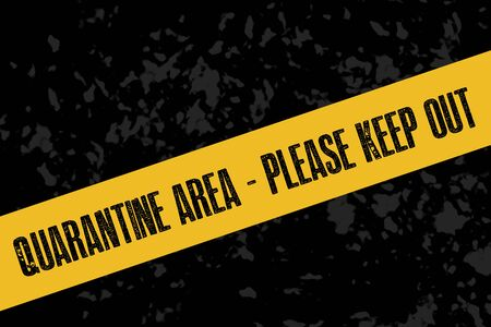 A yellow quarantine sign or tape on a dark background Banco de Imagens