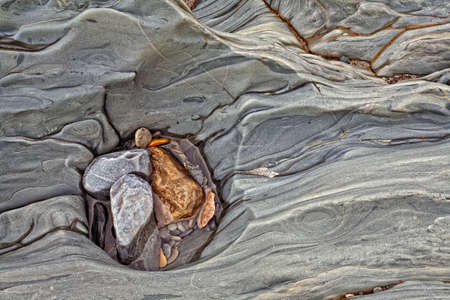 Stones in an eroded canyon in the Canadian Rocky Mountains, Yoho, British Columbia