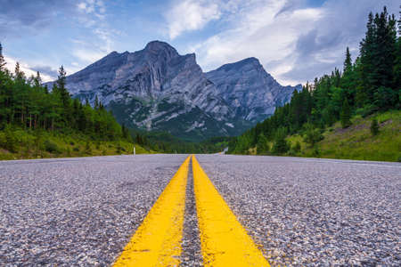 Road in Kananaskis Country in the Canadian Rocky Mountains, Alberta, Canada